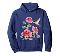 Hummingbird With Roses T For Shirts Hoodie Navy