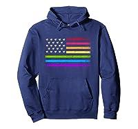 American Flag Rainbow Lgbt Lesbian Gay Pride Shirts Hoodie Navy