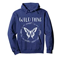 Wild Thing Butterfly Floral Wht Shirts Hoodie Navy