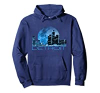 Detroit Skyline At Night Shirt Hoodie Navy