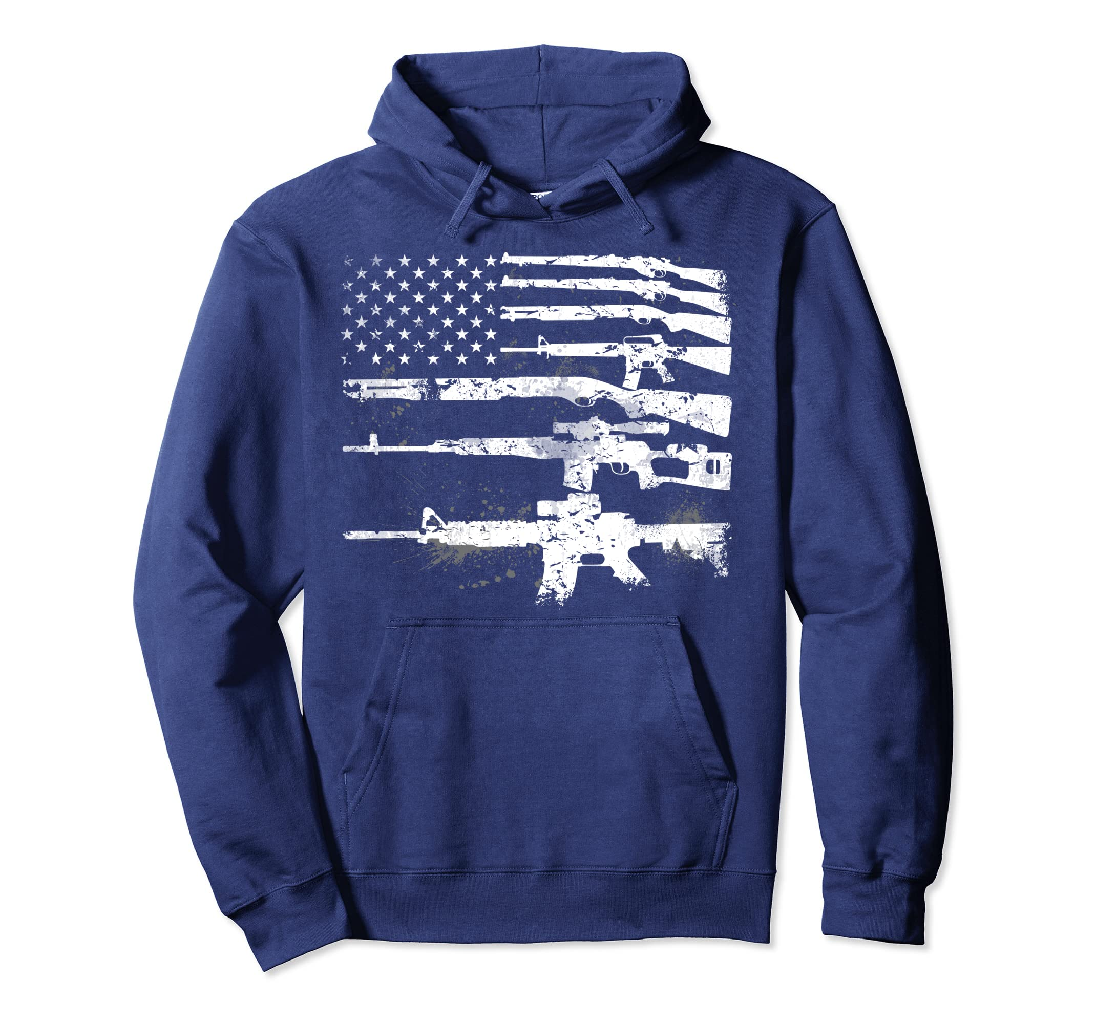 ffc73fdd48474 Amazon.com: USA Guns Weapons Flag Rifles Stripes Armed America Hoodie:  Clothing