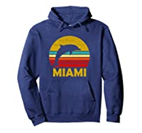 Retro Miami Dolphin Vintage Cute Pullover Shirts Hoodie Navy
