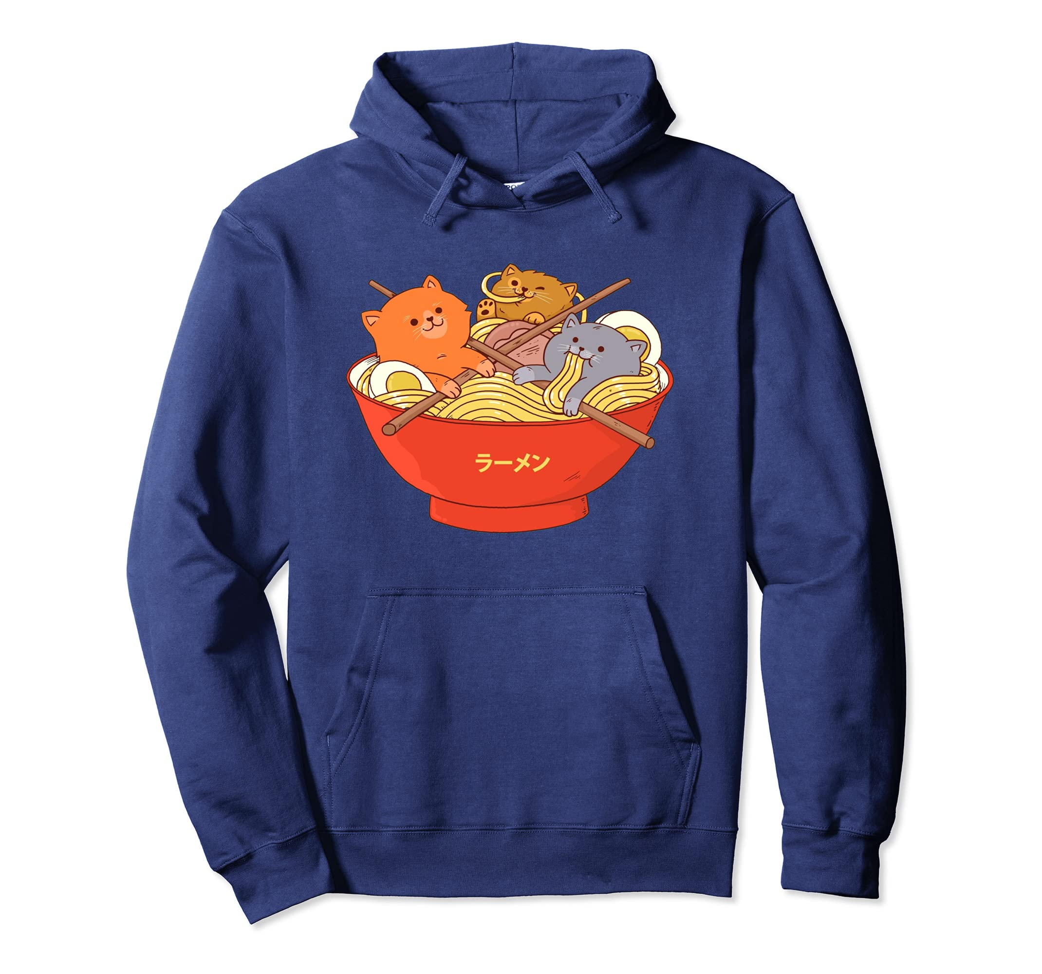 2f5c042e436a Amazon.com: Kawaii Anime Cat Hoodie Japanese Ramen Noodle Hooded Sweater:  Clothing