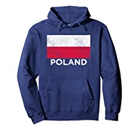 Poland National Flag - Distressed For & Shirts Hoodie Navy