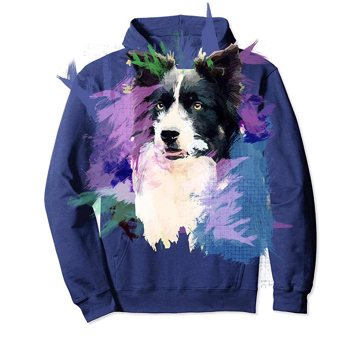 Border Collie T-Shirt Splash Art Dog Owner Gift Tee Shirt-Hoodie-Navy