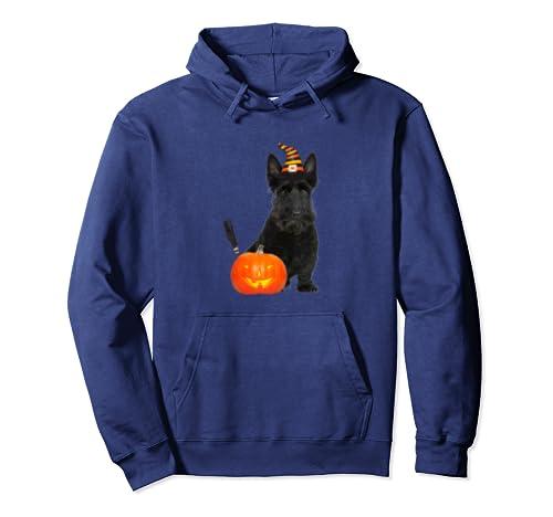 Scottie Scottish Terrier Witch Hat Halloween Dog Costume Pullover Hoodie
