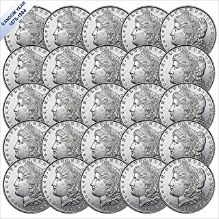 (1878-1904) Morgan Silver Dollar (BU) Twenty-Five Coins - (with Air-Tite Holder) Various Mint Marks Brilliant Uncirculated