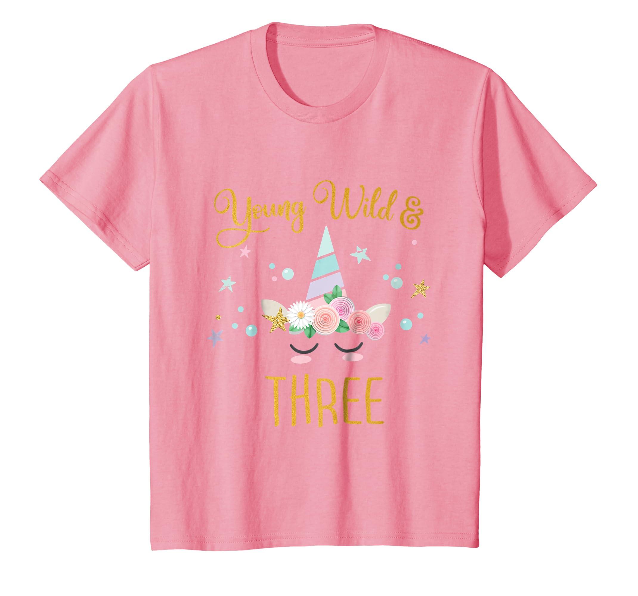 Amazon Young Wild And Three Tshirt Unicorn 3rd Birthday Kids Gift Clothing