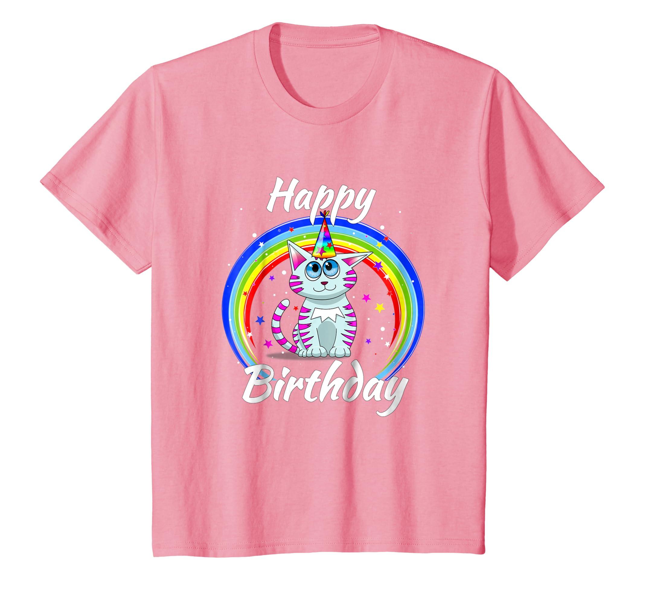 Amazon Toddler Cat Rainbow Birthday Shirt Kids Women Clothing