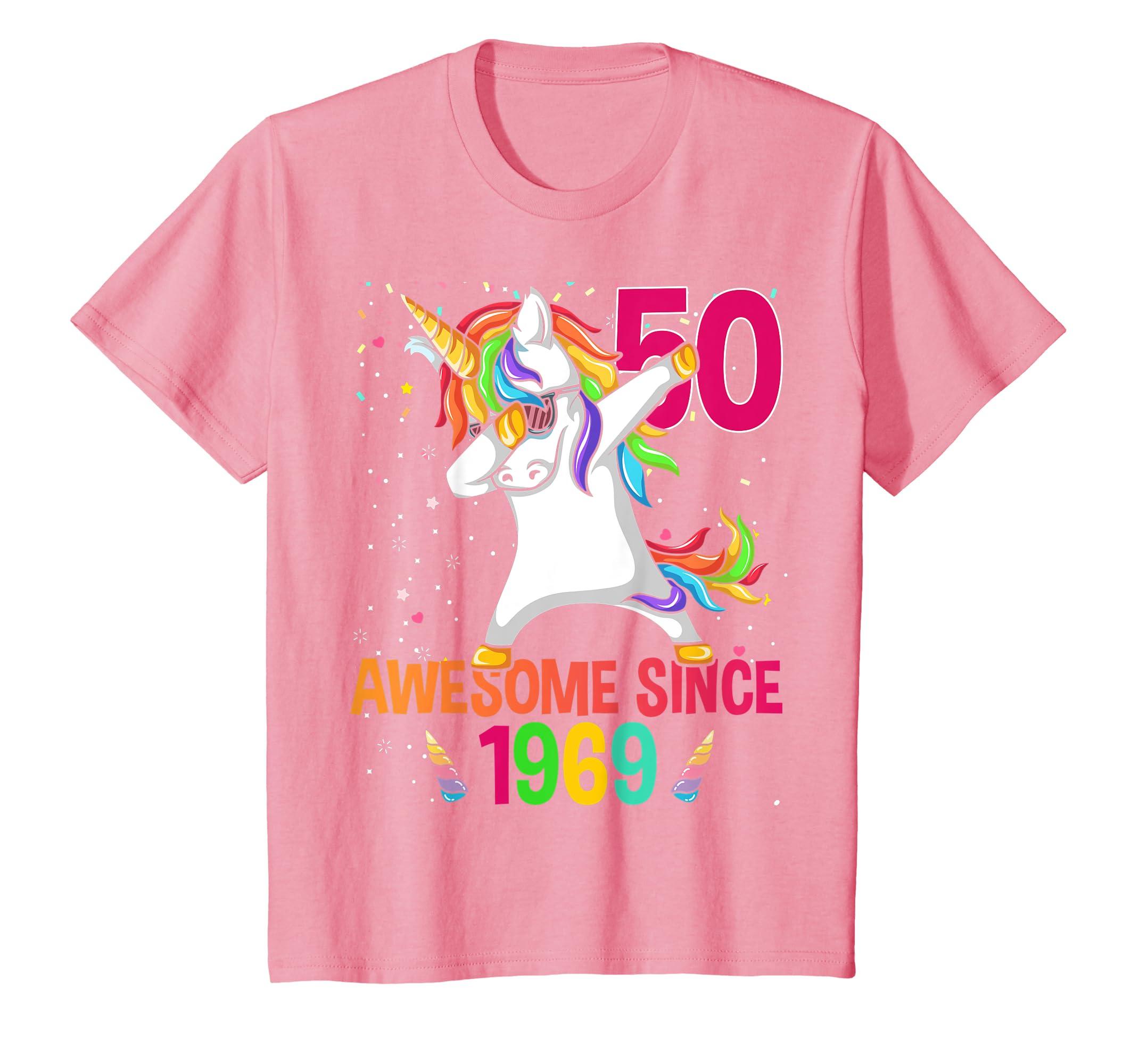 6263347a Amazon.com: Dabbing Unicorn 50th Birthday 50 yrs old Awesome Since 1969:  Clothing