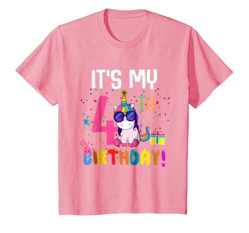 Kids 4 Years Old 4th Birthday Unicorn Shirt Girl Daughter Gift Pa