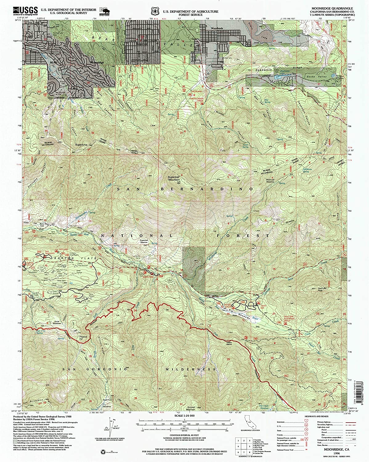 Moonridge CA topo map, 1 24000 Scale, 7.5 X 7.5 Minute, Historical, 1996, Updated 1999, 26.8 x 21.4 in
