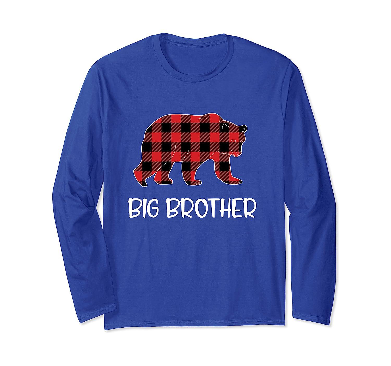 Red Plaid Big Brother Bear Buffalo Matching Family Pajama Long Sleeve T-Shirt