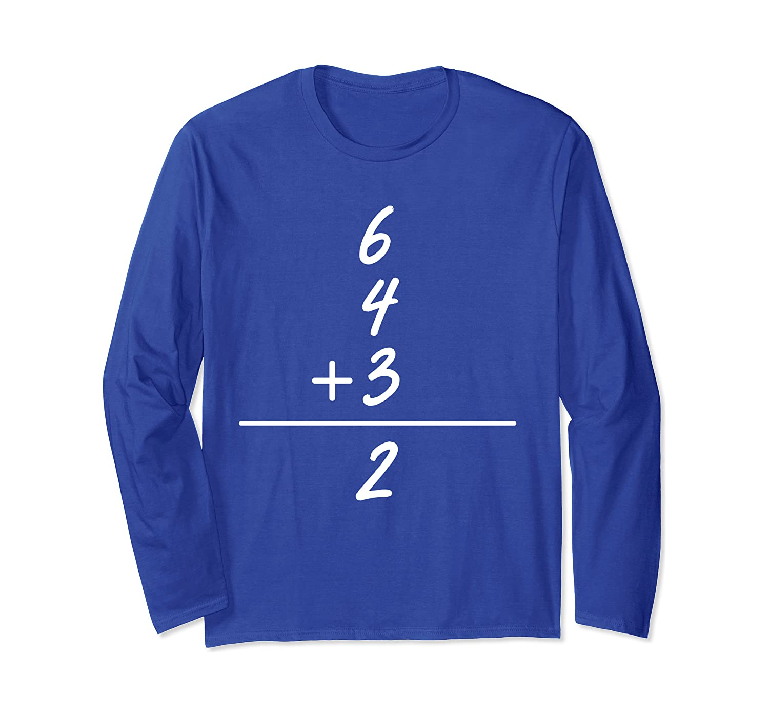 6 4 3 2 Baseball Math Cute Softball Game Gift Long Sleeve T-Shirt