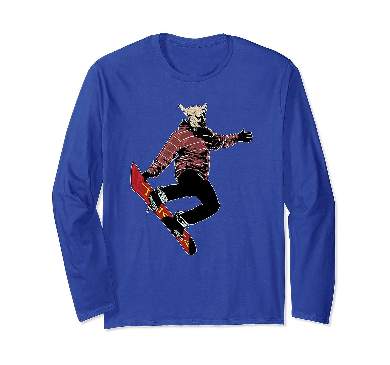 Snowboard Llama – Cool Funny Animal Extreme-Sport Winter Long Sleeve T-Shirt
