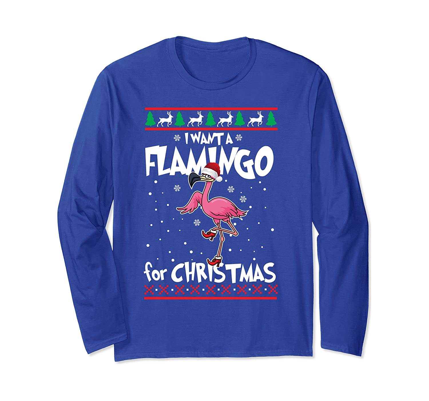 Flamingo Weihnachten I Want A Flamingo For Christmas Ugly Langarmshirt