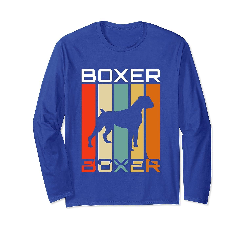 Boxer Dog Tee, 70s Retro Vintage, Boxer Dog Lover Tee Long Sleeve T-Shirt-Awarplus