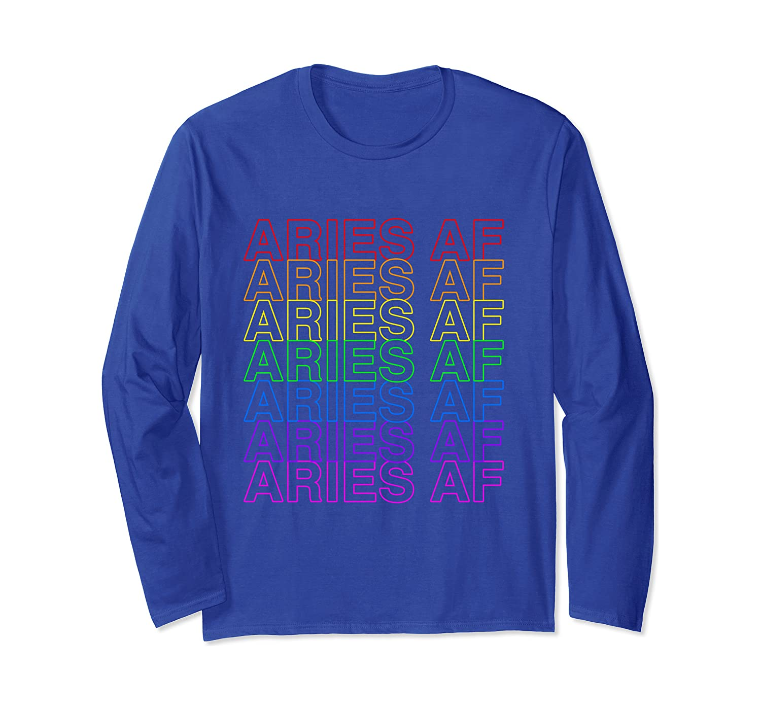 Aries AF Gay Pride Rainbow Repeat Plastic Thank You Bag  Long Sleeve T-Shirt
