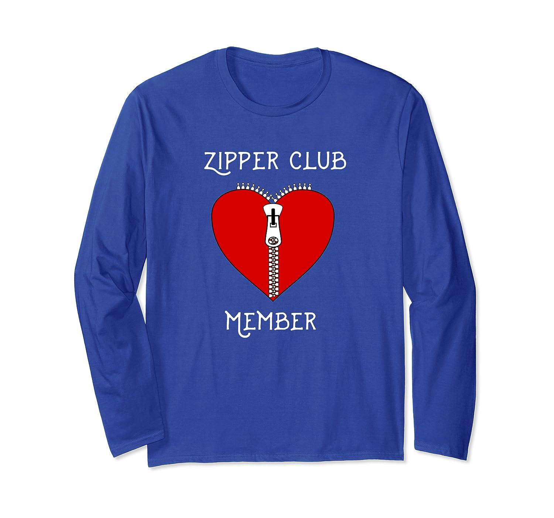Zipper Club Member Graphic Heart Surgery Survivor Long Sleeve T-Shirt-axz