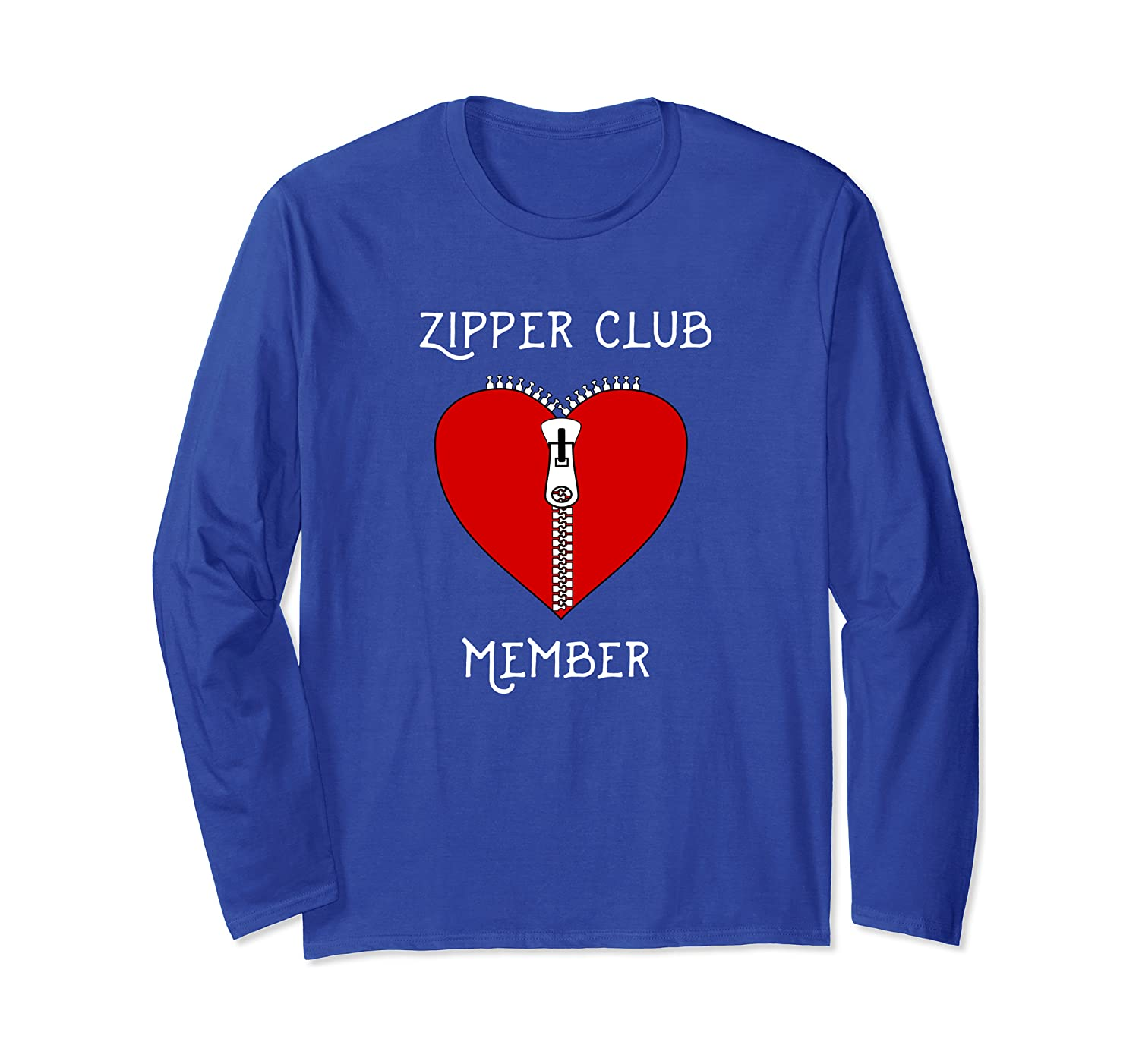 Zipper Club Member Graphic Heart Surgery Survivor Long Sleeve T-Shirt