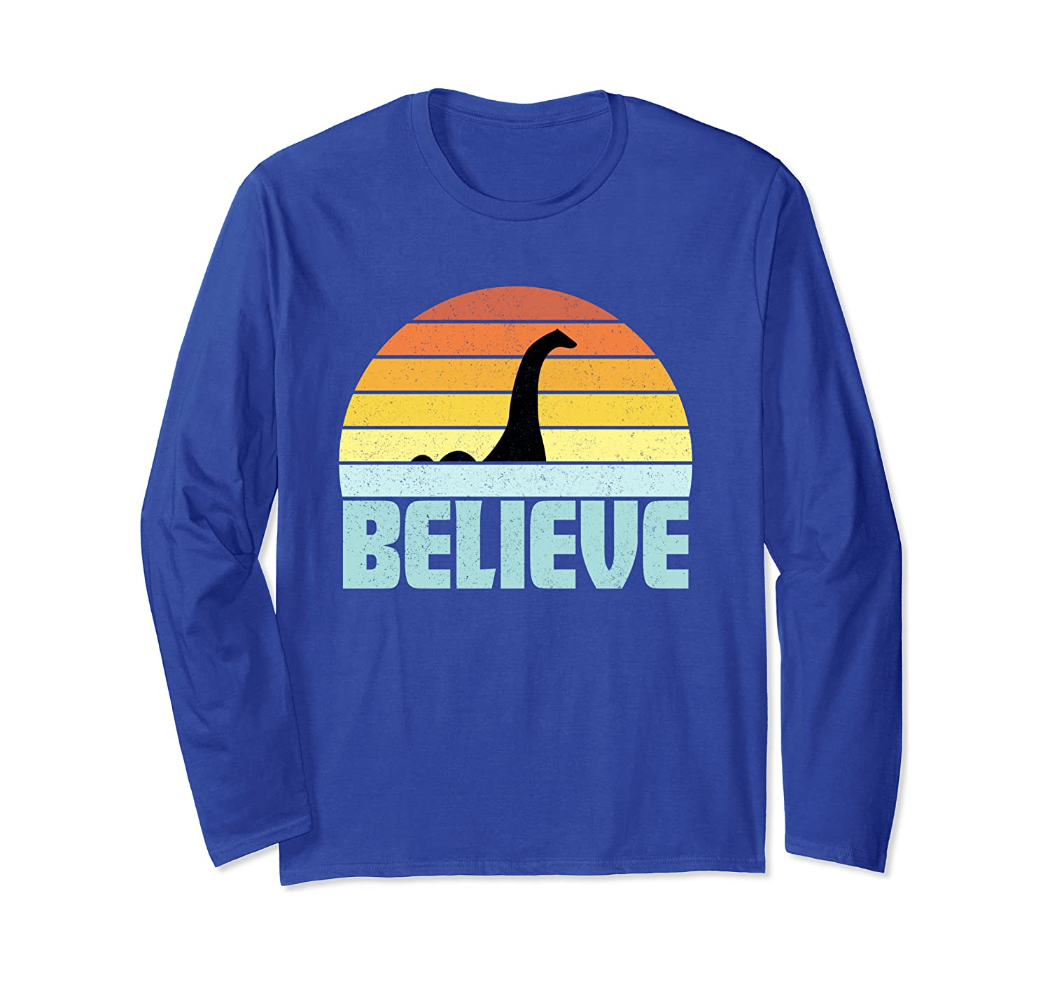 Believe Nessie Loch Ness Monster Retro Sunset Party Gift Long Sleeve T-Shirt