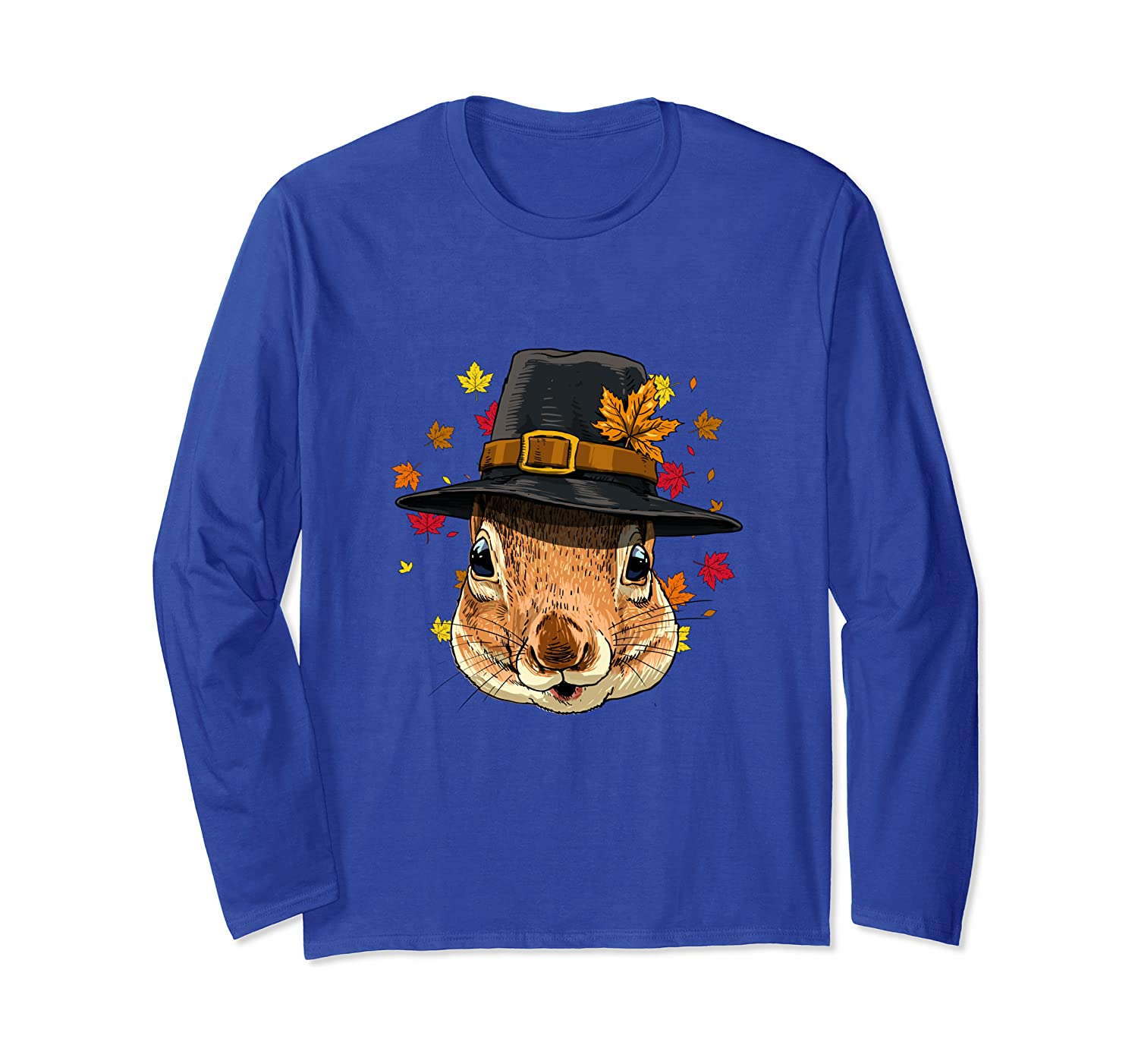 Thanksgiving Squirrel Pilgrim Costume Men Women Long Sleeve T-Shirt-SFS