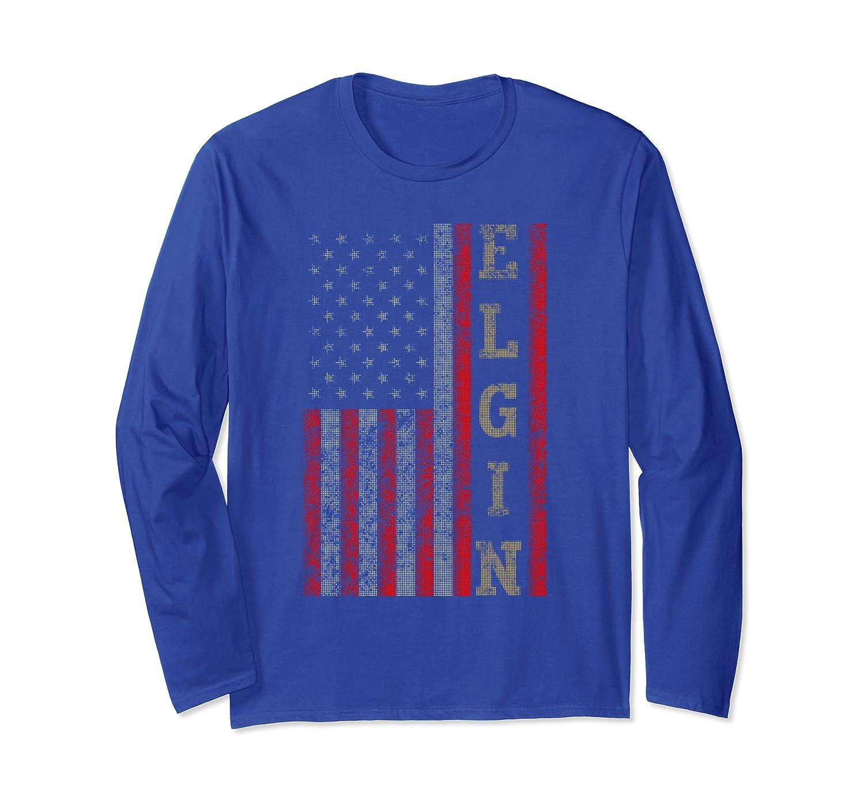Cool Patriotic Elgin USA – US Flag Gift Idea Long Sleeve T-Shirt