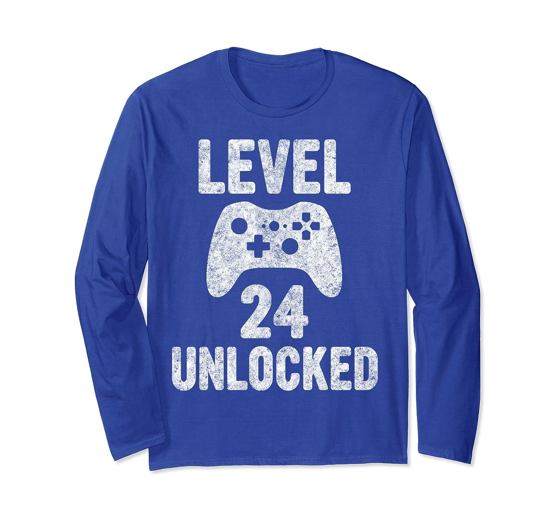 Cute Video Gamer 24th Birthday Gift Funny Level 24 Unlocked Long Sleeve T-Shirt