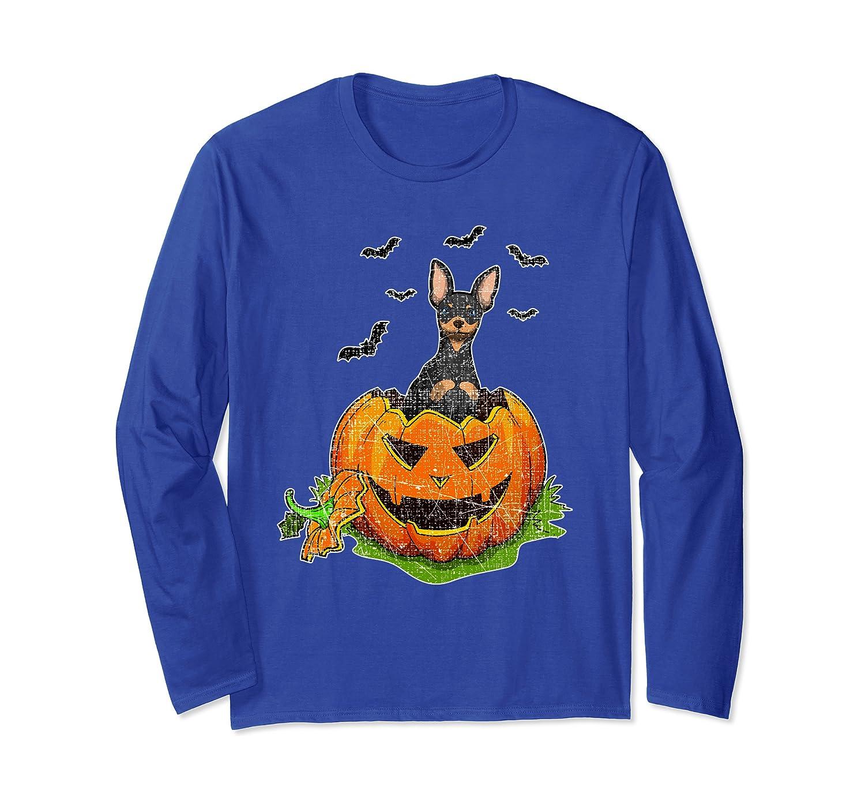 Halloween Miniature Pinscher Dog Lovers Pumpkin Kids Womens Long Sleeve T-Shirt-SFS