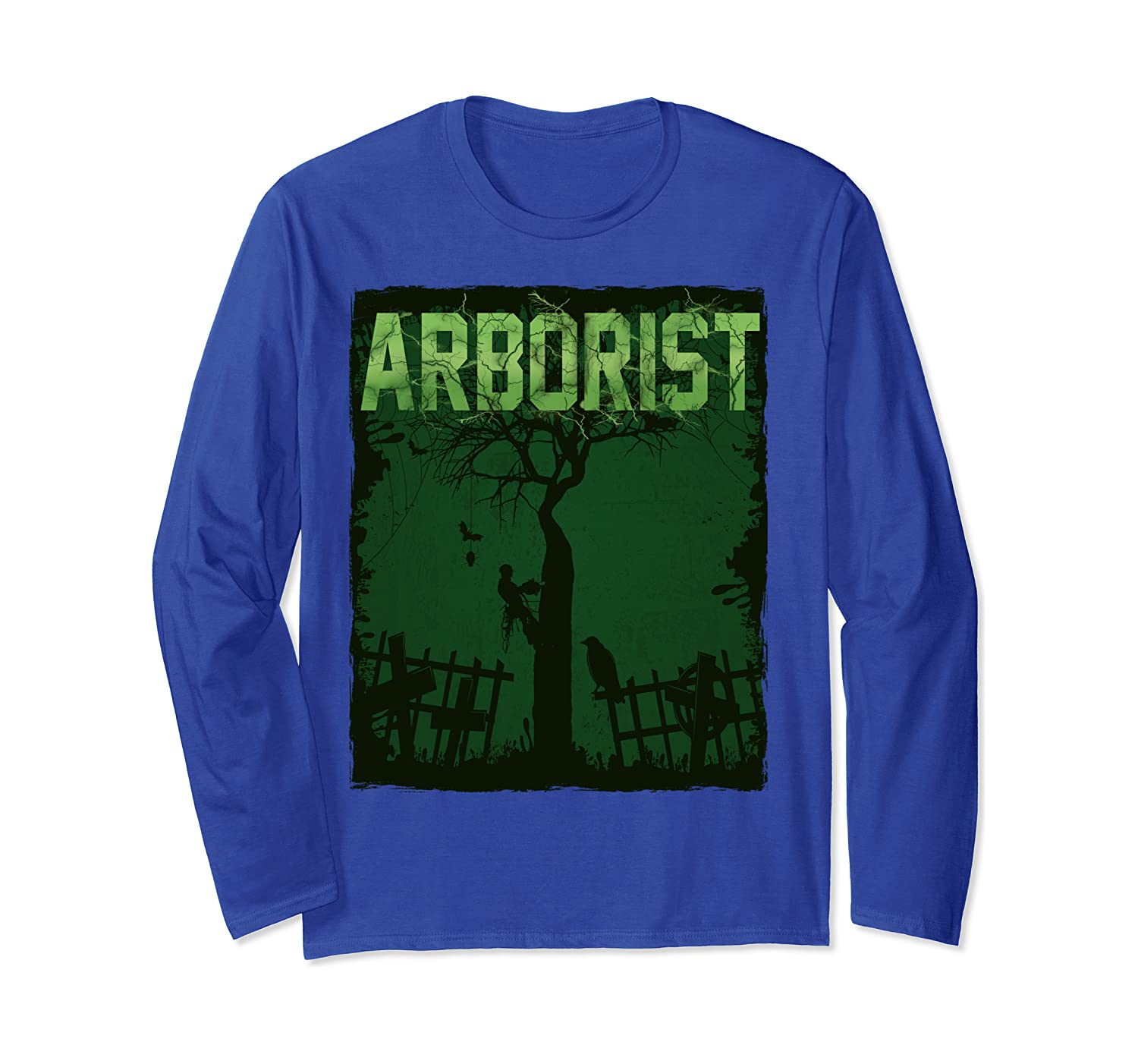 Cool Scare Arborist Design Funny Halloween Long Sleeve T-Shirt-SFS