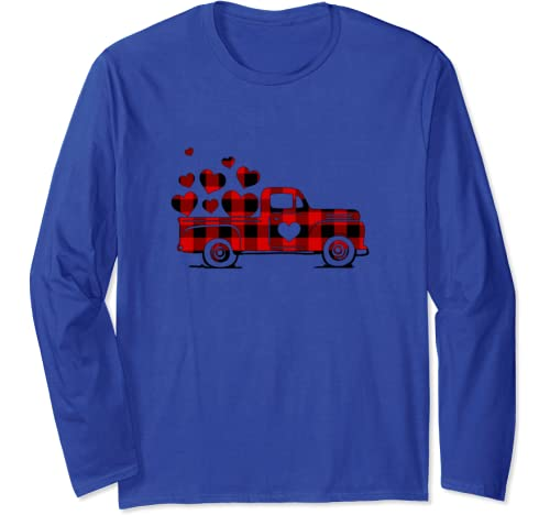 Valentine's Day Heart Graphic Red Plaid Truck Vintage Long Sleeve T Shirt