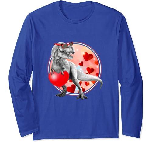 I Steal Hearts Lovesaurus Valentines Day T Rex Dinosaur Long Sleeve T Shirt
