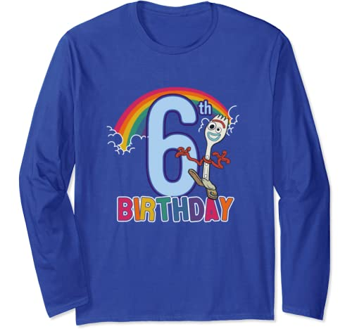 Disney Pixar Toy Story 4 Forky 6th Rainbow Birthday Long Sleeve T Shirt