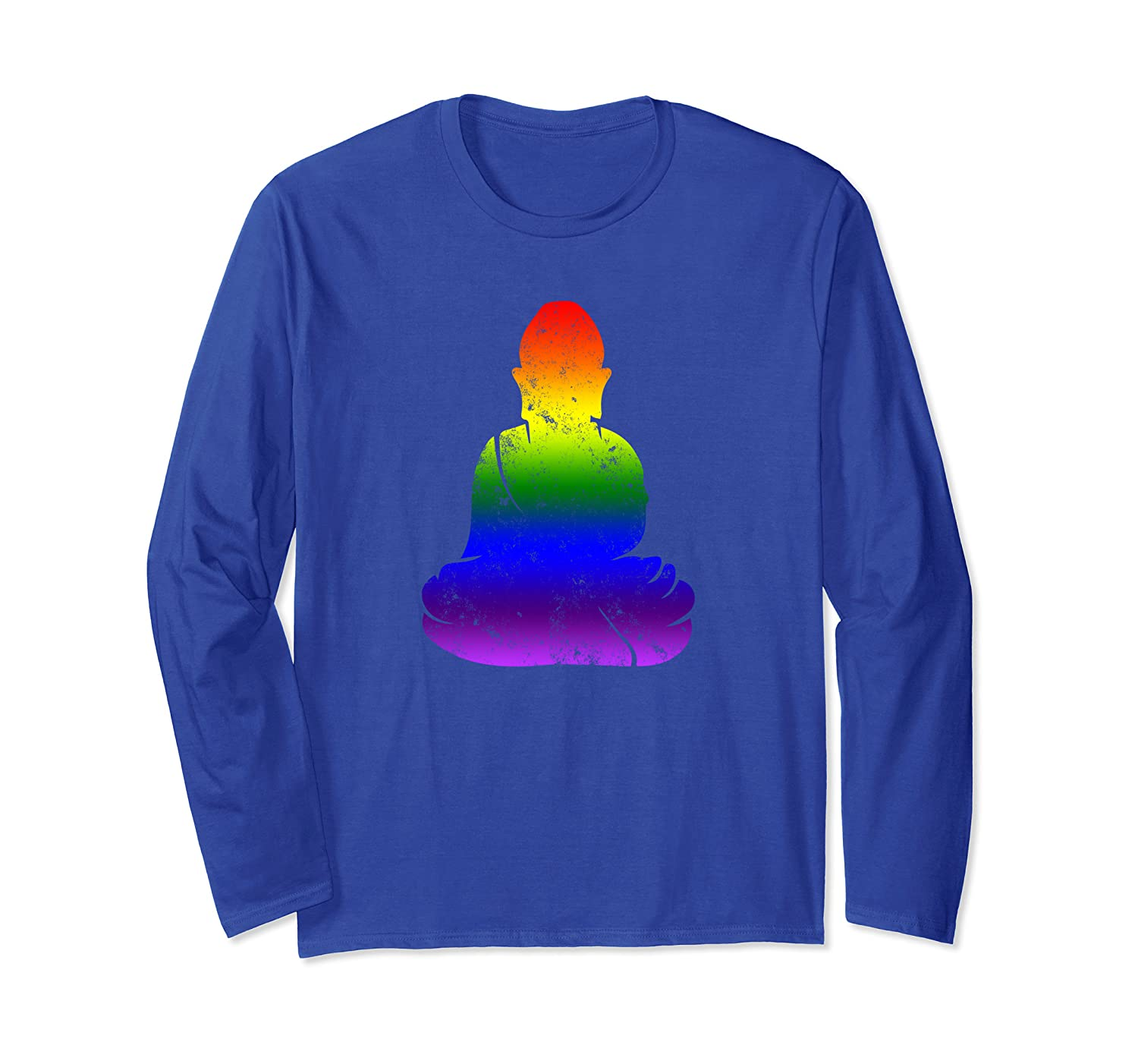 Rainbow Pride Buddha Faded Vintage – Zen LGBTQ Long Sleeve T-Shirt
