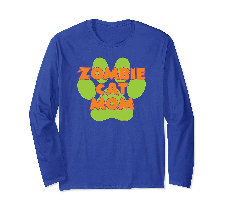 Zombie Cat Mom Funny Halloween Green Paw Print Long Sleeve T-Shirt