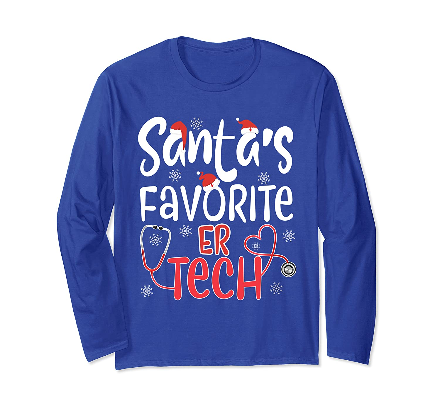 Santa's Favorite ER Tech Nurse Technician Christmas  Long Sleeve T-Shirt