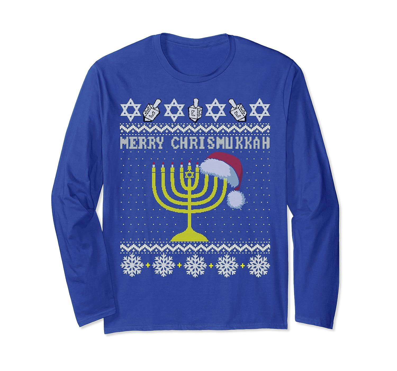 Merry Chrismukkah Christmas Ugly Hanukkah Sweater menorah Long Sleeve T-Shirt-TH