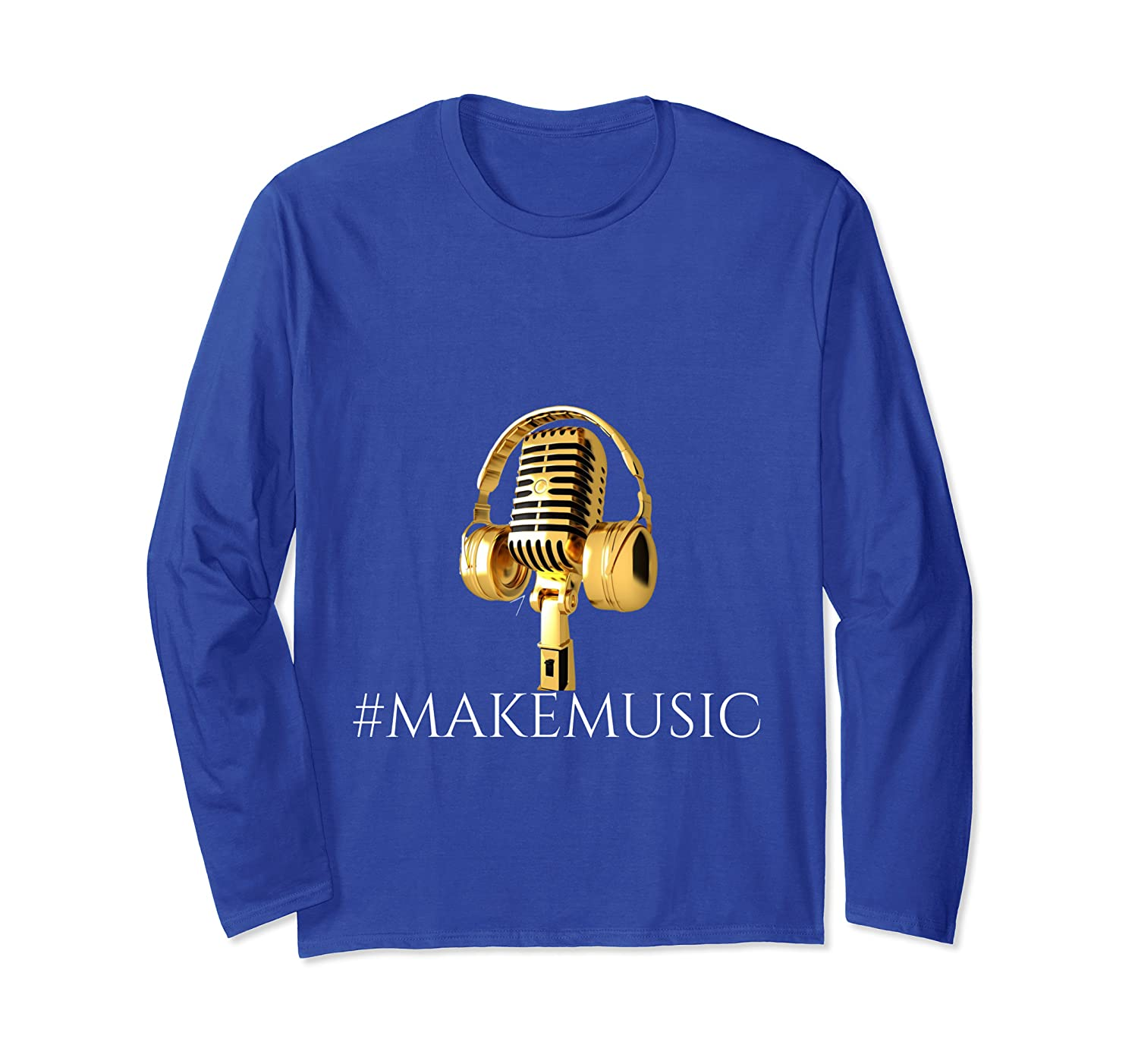 """Musician"" ""Gold Microphone and Headphones"" Long Sleeve T-Shirt"