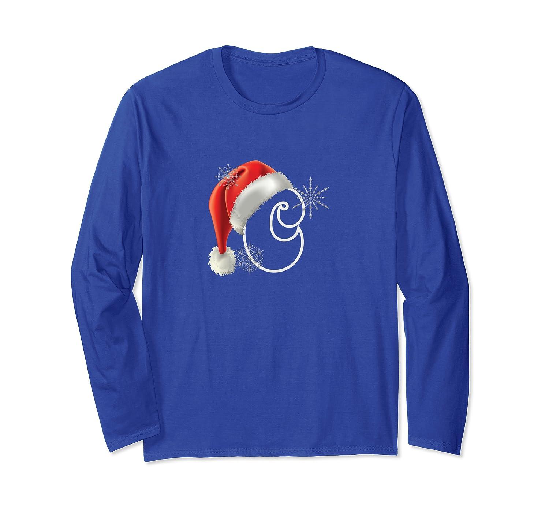 Cutest Capital Letter C Santa Monogram Christmas Holidays Long Sleeve T-Shirt-TH