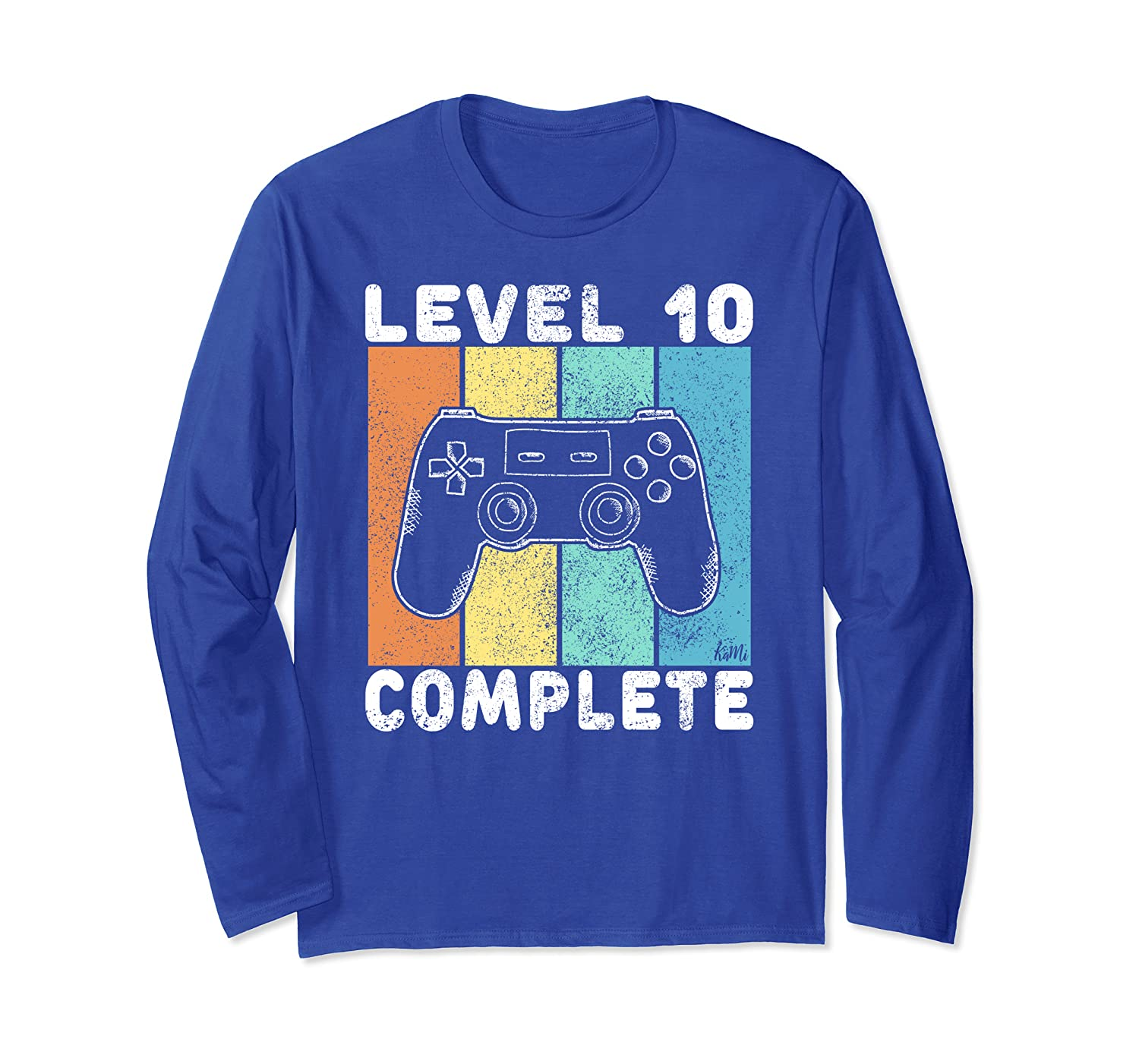 10th Birthday Boys Gaming Level 10 Complete 10 Years Gamer Long Sleeve T-Shirt-TH