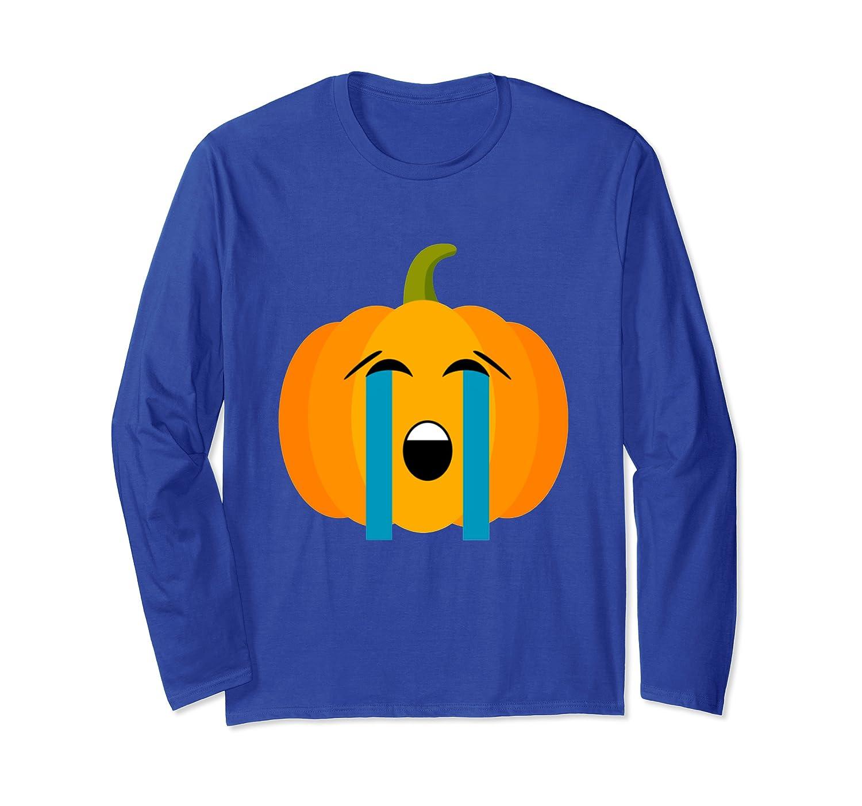Halloween Tears Crying Pumpkin Emoji Long Sleeve T-Shirt