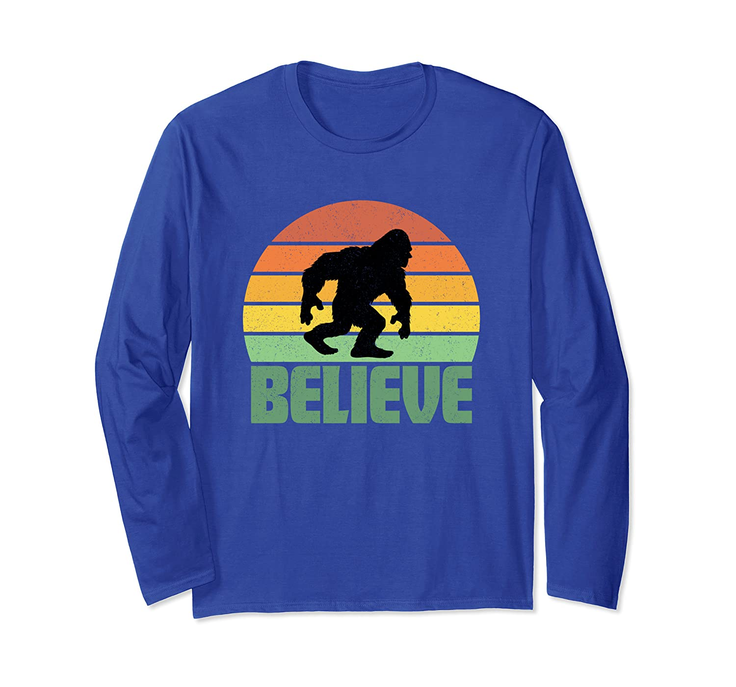 Believe Bigfoot Yeti Funny Retro Sunset Gift Party Present Long Sleeve T-Shirt