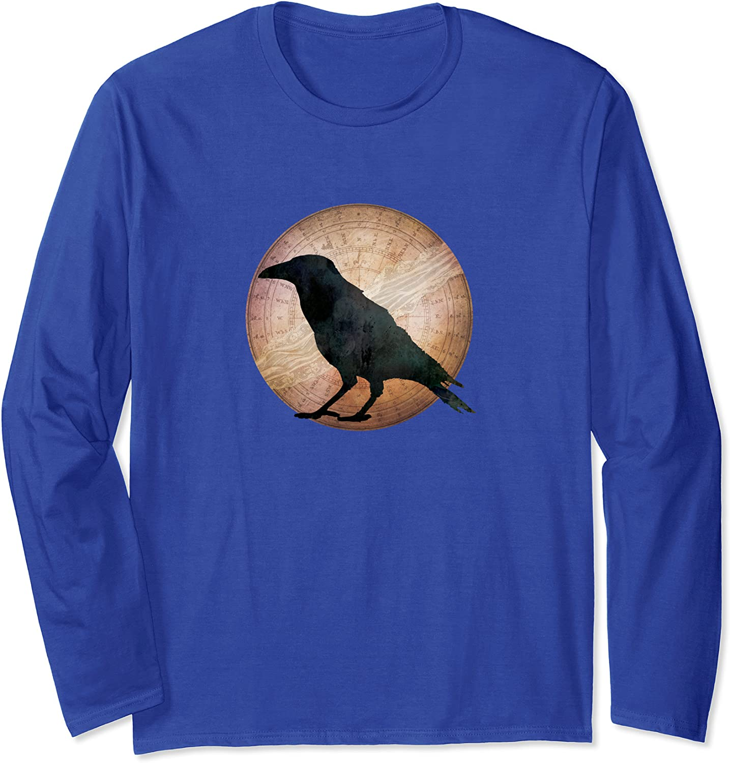 Crow - Crow and Lace Moon - Crow Raven Moon Long Sleeve T-Shirt-TH