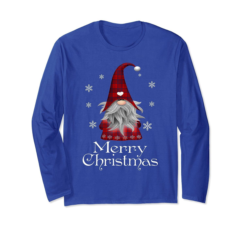 Santa Claus Garden Gnome Merry Christmas Plaid T Shirt