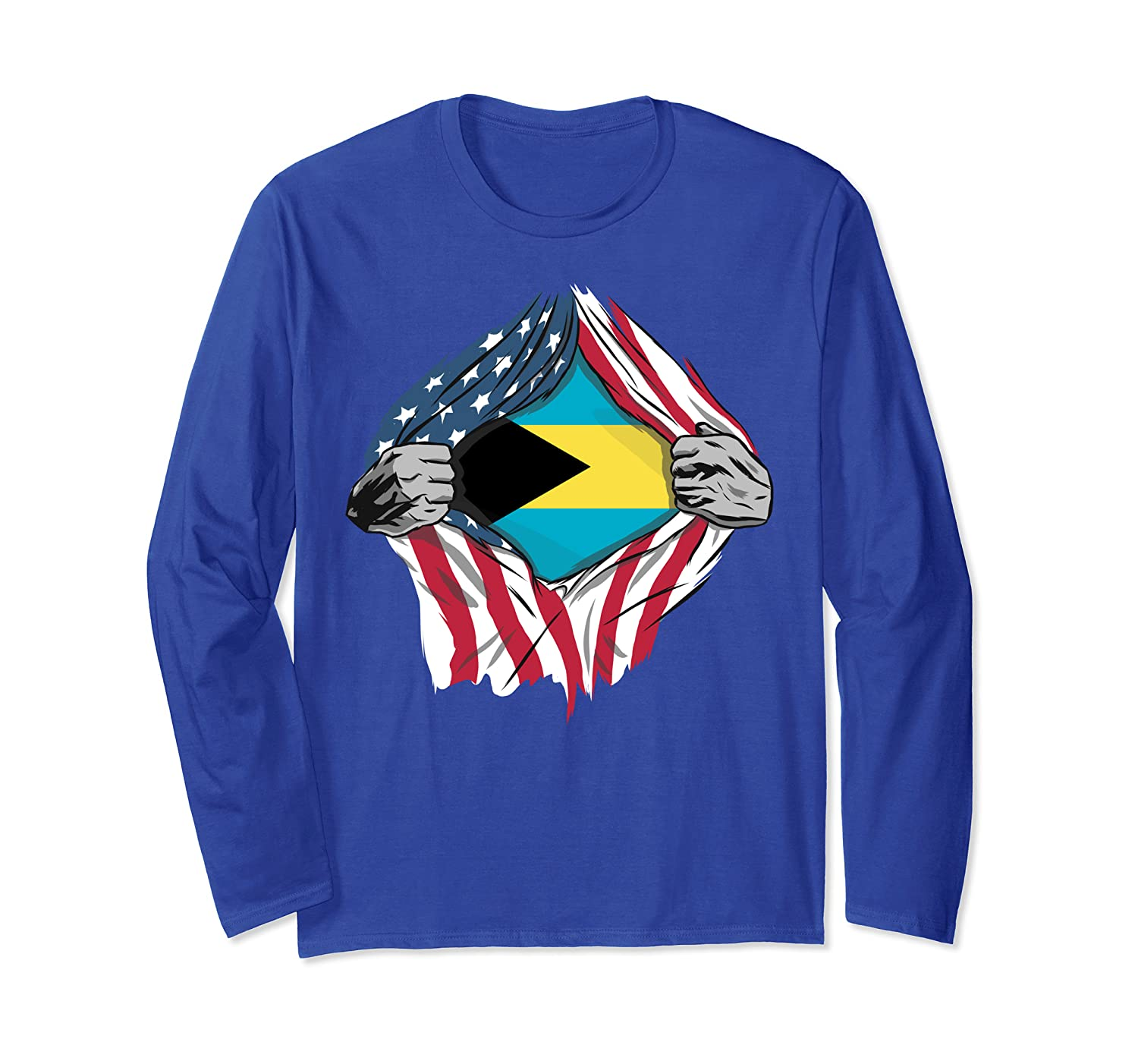 Bahamian American Blood Inside Me – Country Flags Long Sleeve T-Shirt