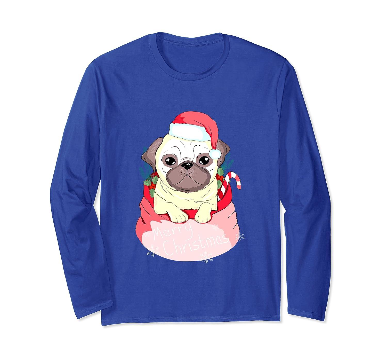 Funny Pug dog Cute Puggy lover cool merry christmas gift Long Sleeve T-Shirt-Cotoa