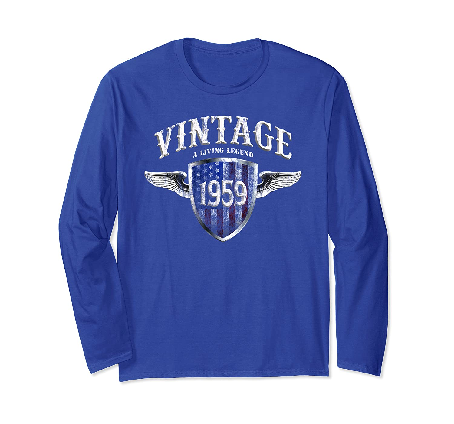 60th Birthday Vintage Made In 1959 Living Legend USA Shield Long Sleeve T-Shirt-TH
