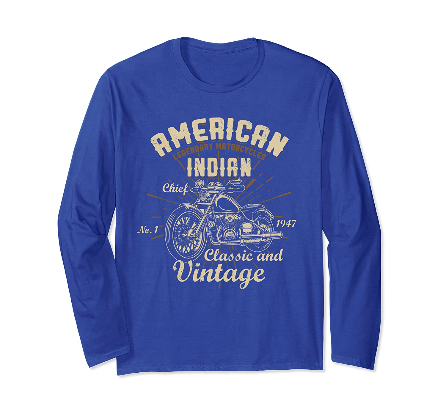 American Legendary Motorcycles Indian Chief Classic Vintage Long Sleeve T-Shirt-TH