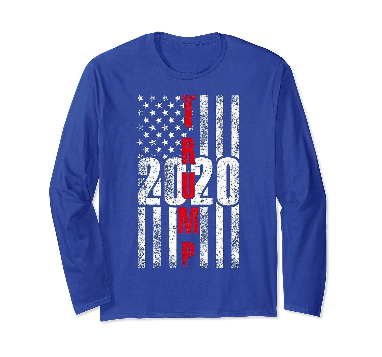 American Flag USA Vintage Flag Election Gifts Trump 2020 Long Sleeve T-Shirt-TH