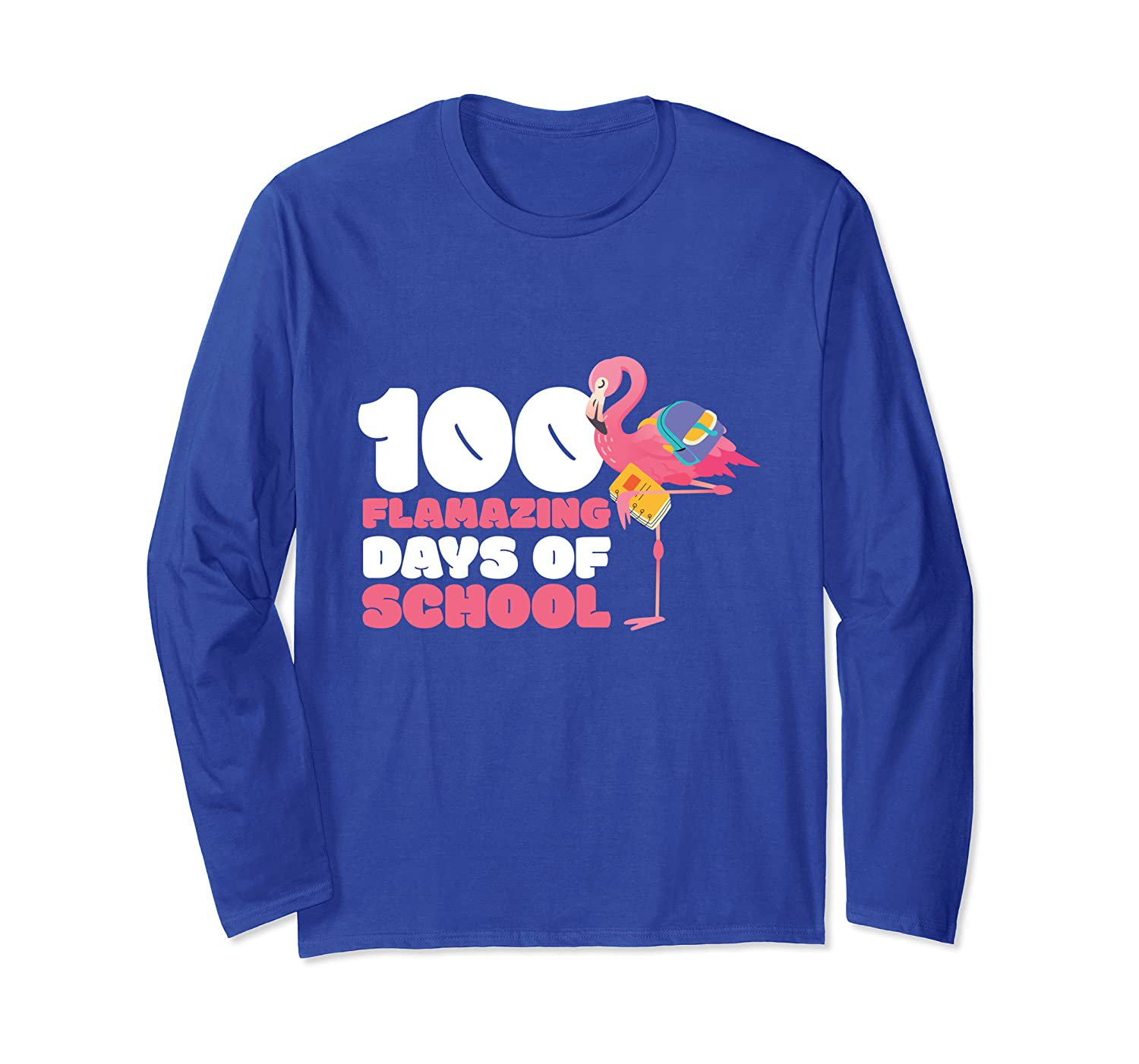 100 Flamazing Days of School Flamingo 100th Day For Teachers Long Sleeve T-Shirt Unisex Tshirt